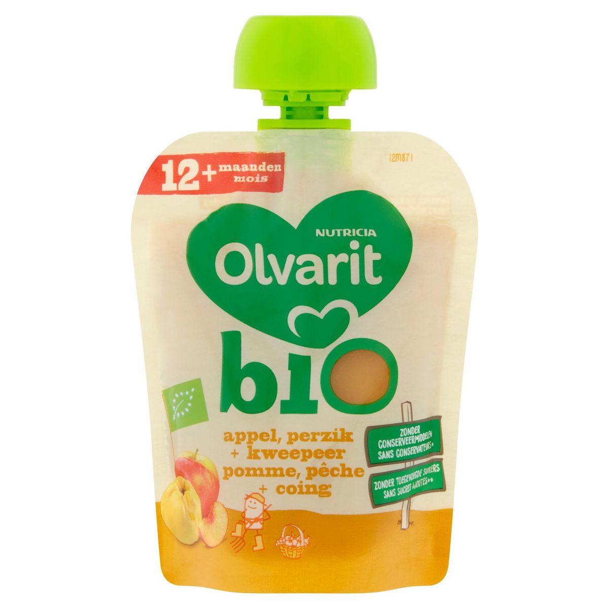 Olvarit Bio fruit knijpzakje baby - Appel perzik kweepeer 12 maanden