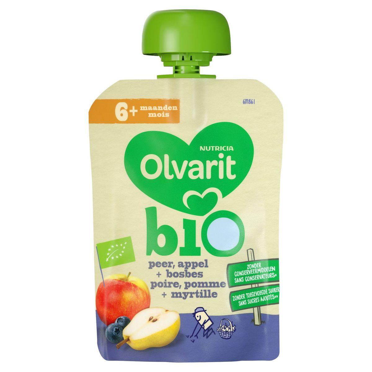 Olvarit Bio fruit knijpzakje baby - Peer appel bosbes 6 maanden  90g