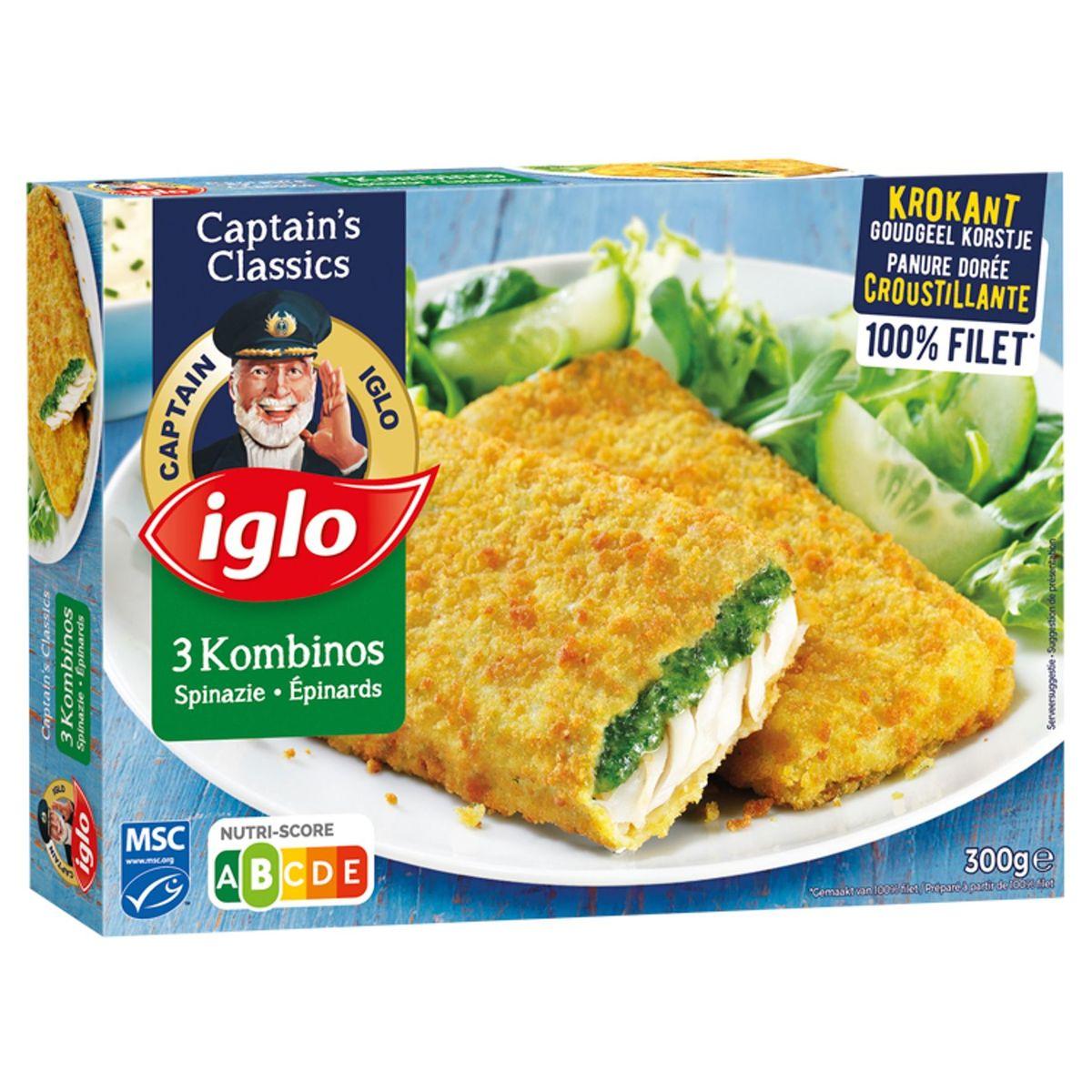 Iglo 3 Filets de Poisson Pané aux Epinards 300 g