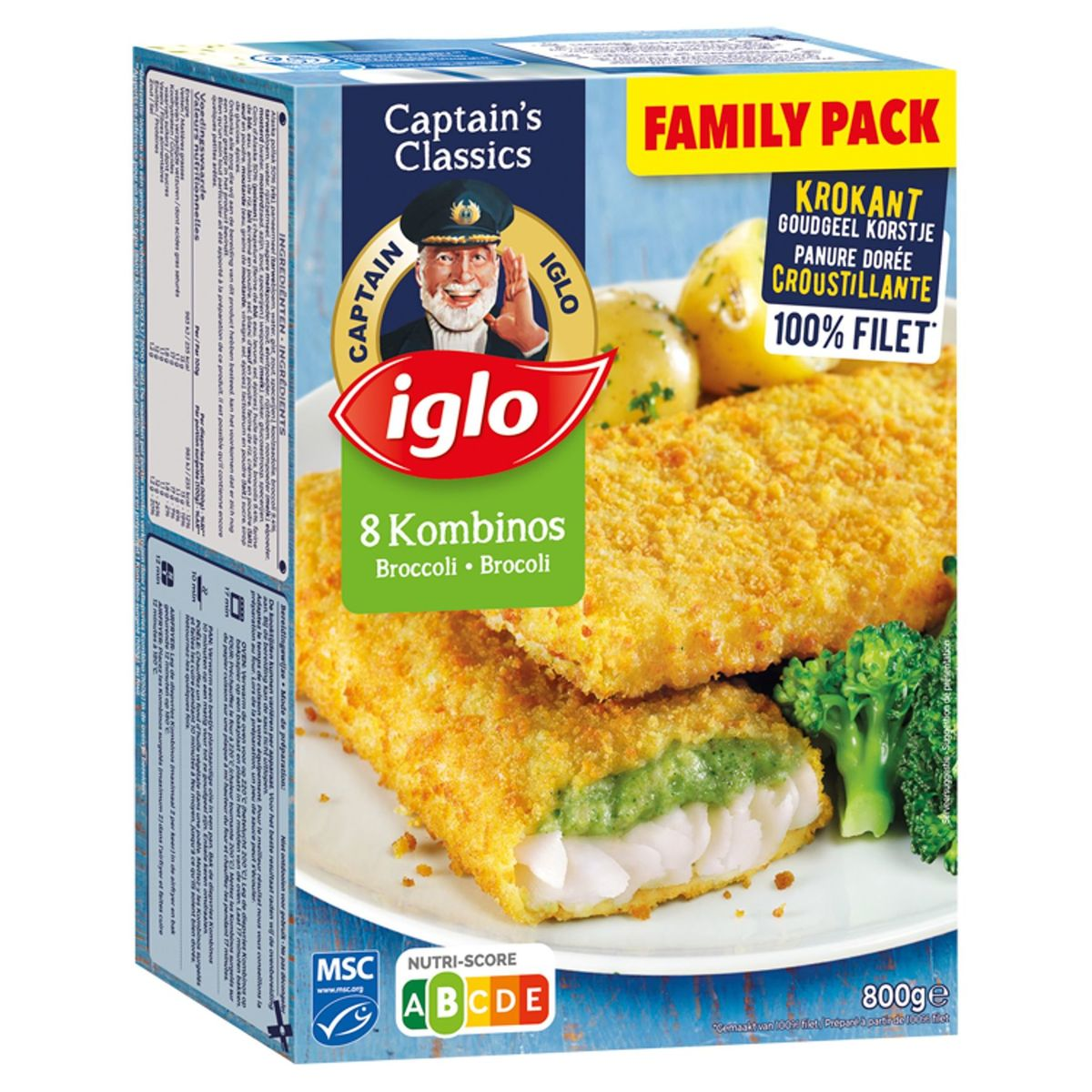 Iglo 8 Filets de Poisson Pané au Brocoli 800 g