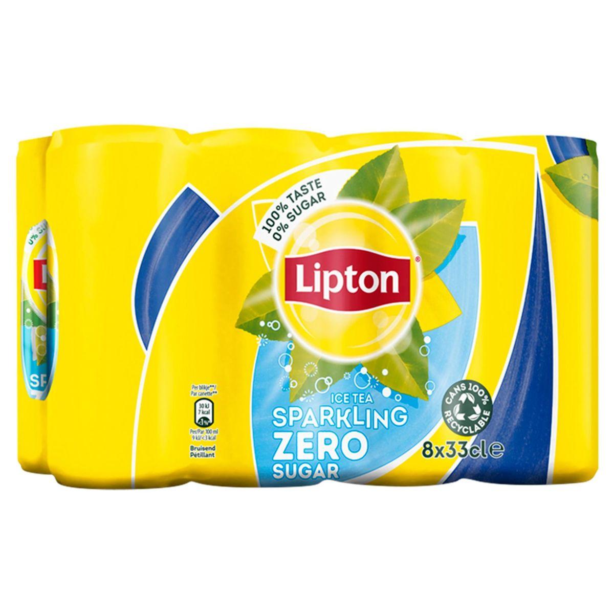 Lipton Iced Tea Thé Glacé Pétillant Sans Sucre Original Zero 8 x 33 cl