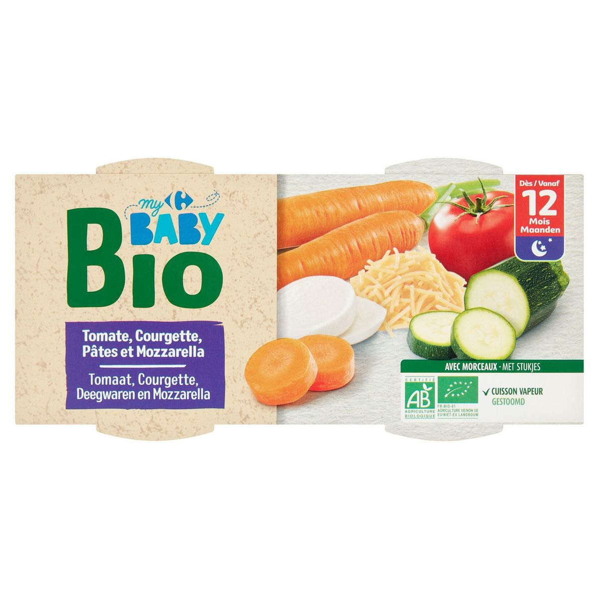 Carrefour Baby Bio Tomate, Courgette, Pâtes, Mozzarella 12M+ 2 x 200 g