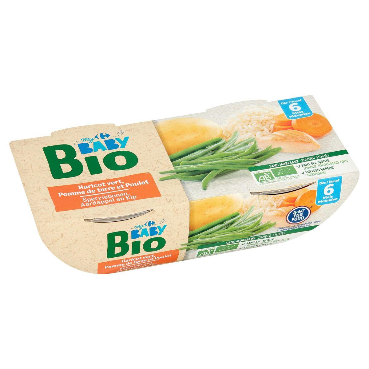 Carrefour Baby Bio Haricot Vert, Pomme de Terre et Poulet 6M+ 2x200 g