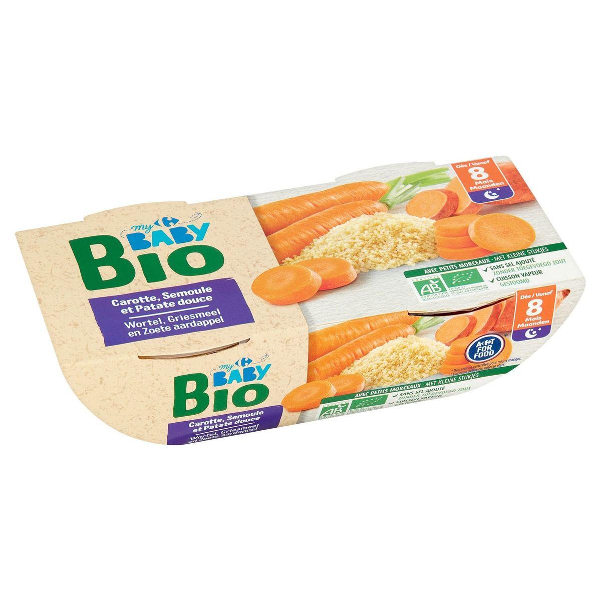 Carrefour Baby Bio Carotte, Semoule et Patate Douce dès 8 Mois 2x 200g