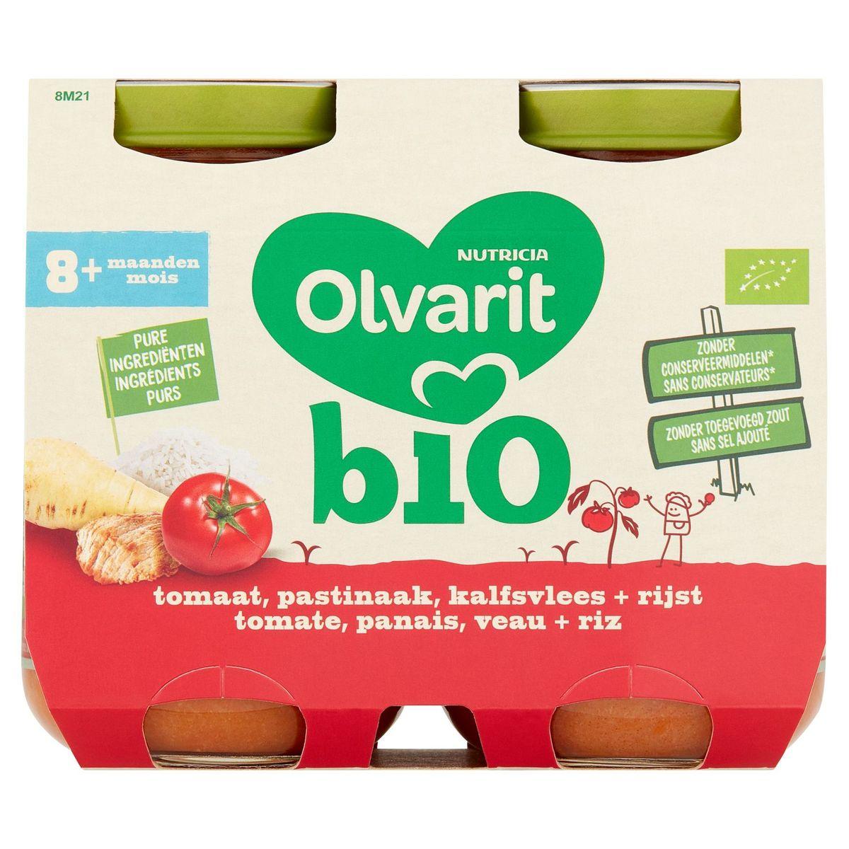 Olvarit Bio maaltijdpotje tomaat pastinaak kalfsvlees rijst 8m  2x200g