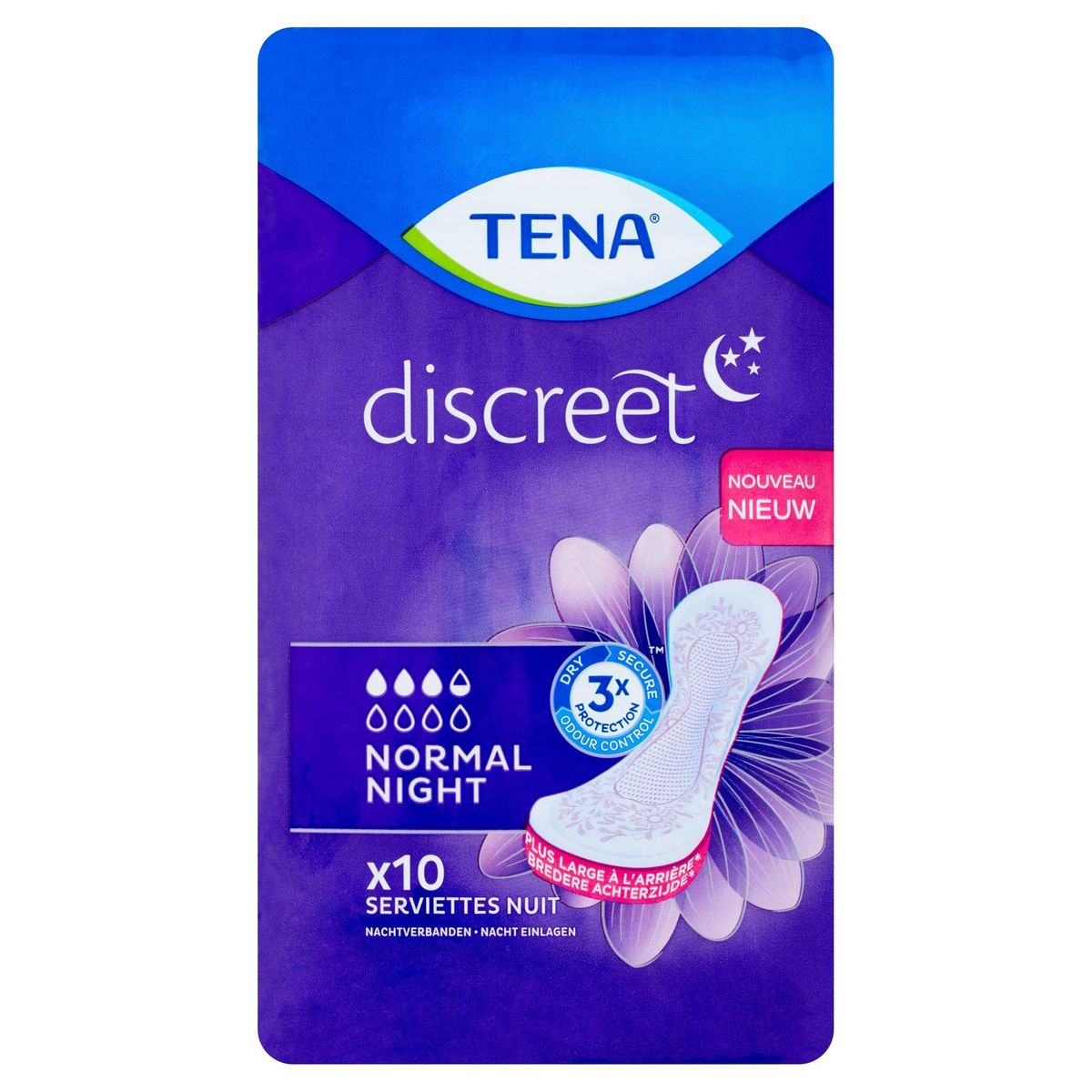 Tena Discreet Normal Night 10 Serviettes Nuit