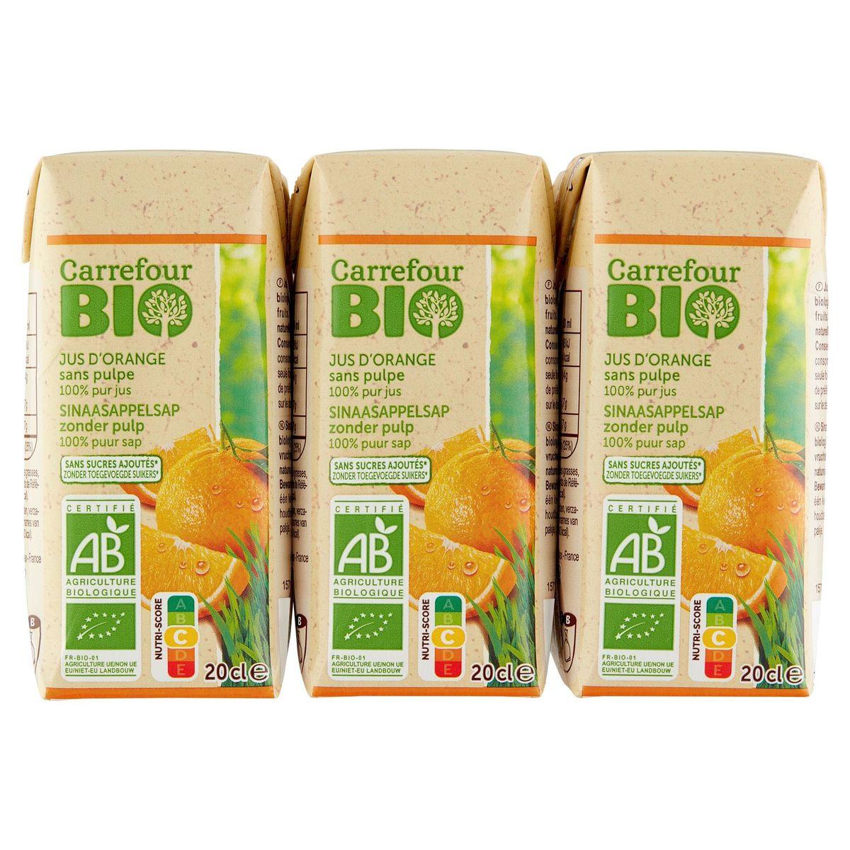 Carrefour Bio 100% Pur Fruit Pressé Jus d'Orange Bio 6 x 20 cl