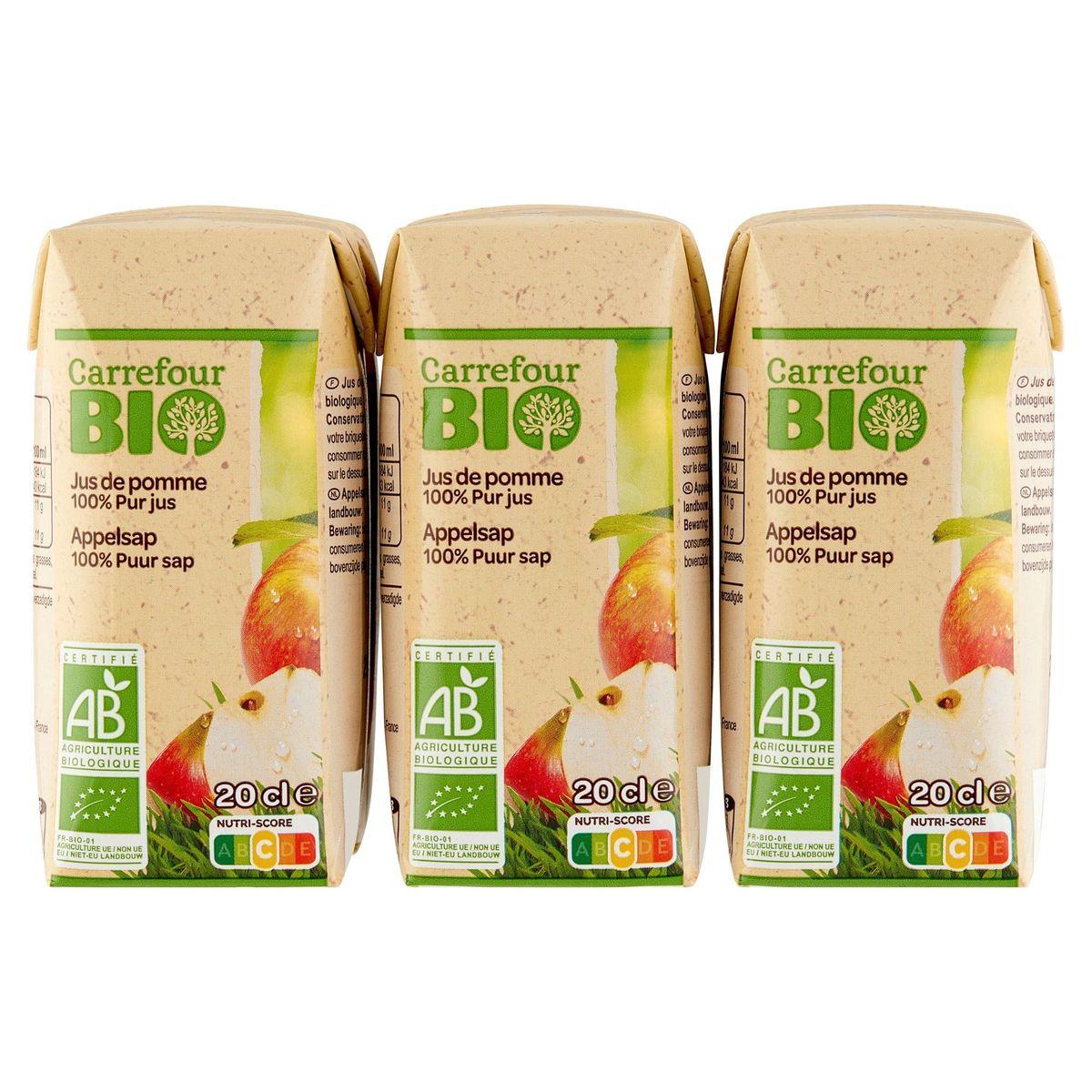 Carrefour Bio 100% Puur Geperst Fruit Appelsap Bio 6 x 20 cl
