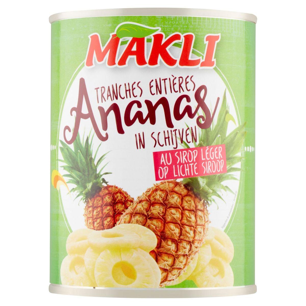Makli Tranches Entières Ananas au Sirop Léger 565 g
