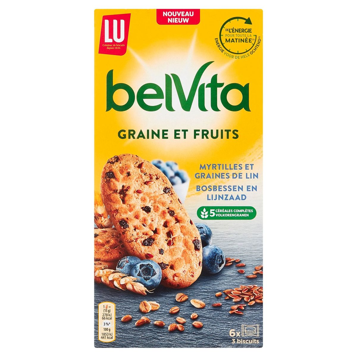 LU BelVita Myrtilles et Graines de Lin 6 x 45 g