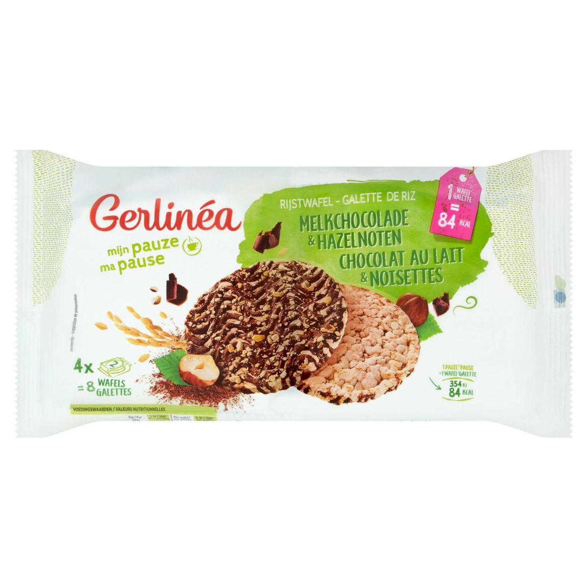 Gerlinéa Galette de Riz Chocolat au Lait & Noisettes 8 Pièces 142 g