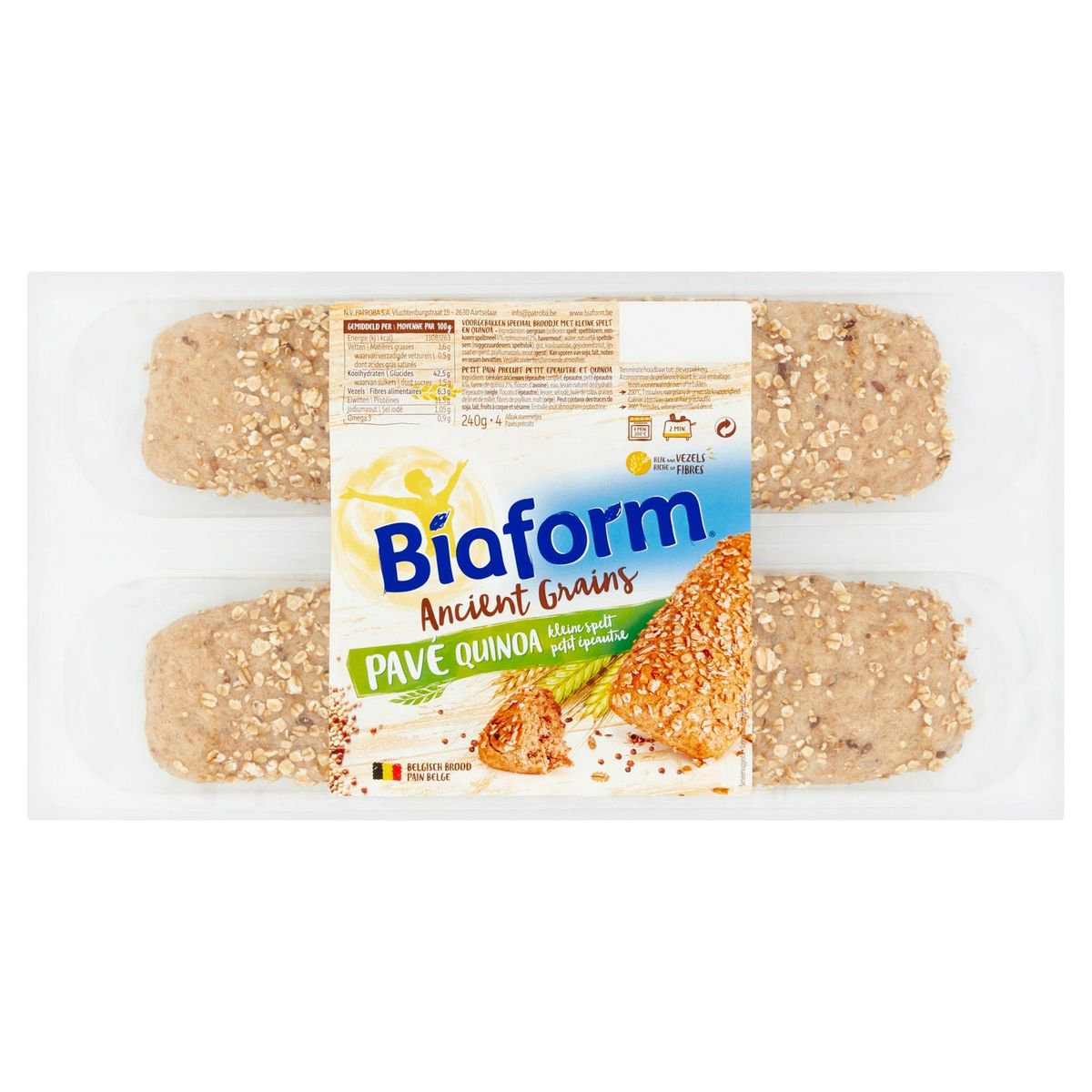 Biaform Ancient Grains Pavé Quinoa Kleine Spelt 4 Stuks 240 g