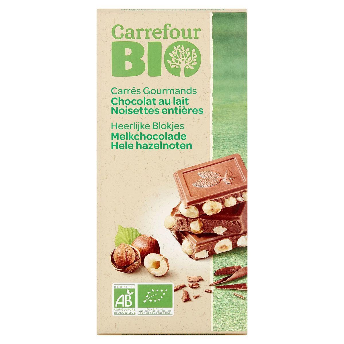 Carrefour Bio Chocolat au Lait Noisettes Entières 200 g