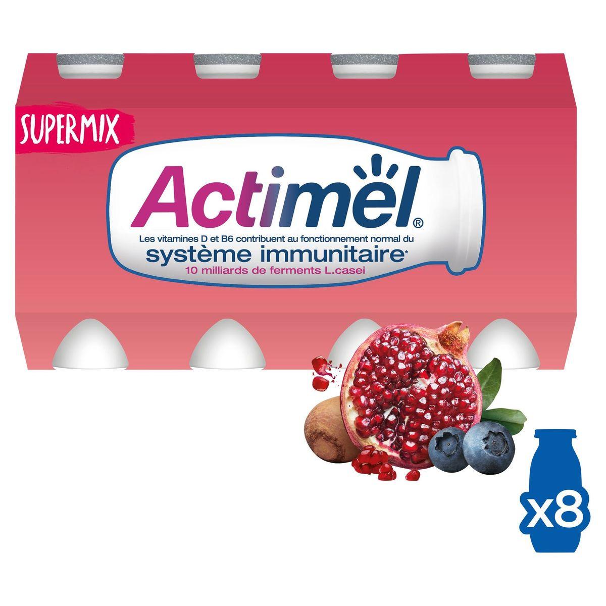 Actimel Supermix Yaourt à Boire Grenade-Myrtille-Maca 8 x 100 g