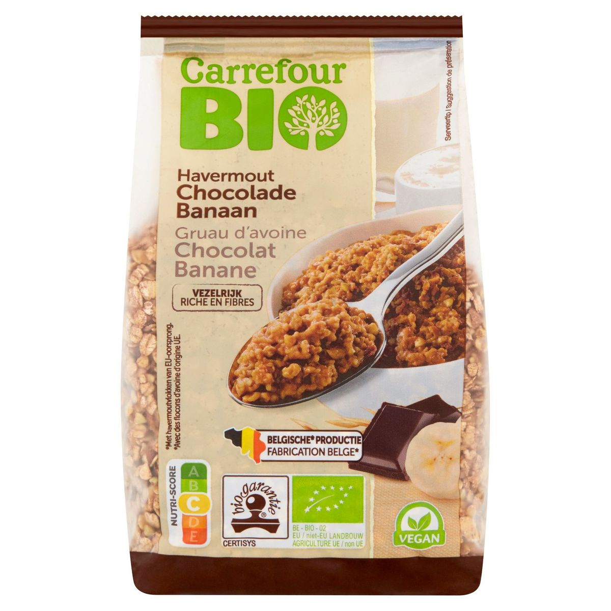 Carrefour Bio Gruau d'Avoine Chocolat Banane 400 g
