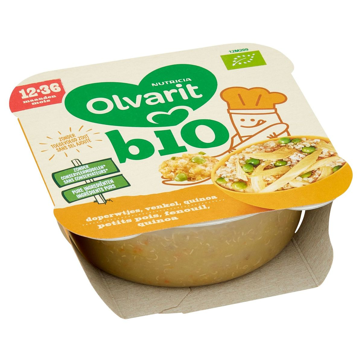 Olvarit Bio assiette petit pois, fenouil, quinoa 12M+ 230g