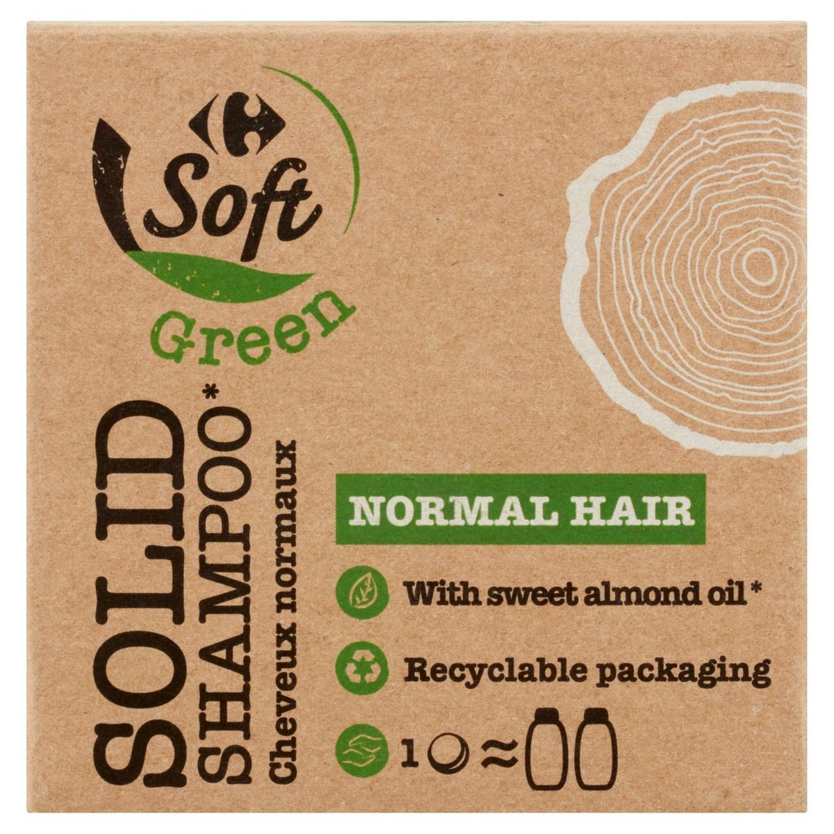Carrefour Soft Green Solid Shampoo Cheveux Normaux 75 g