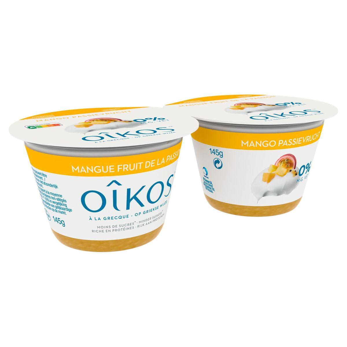 Oikos Yaourt à la Grecque Mangue Fruit de la Passion 0% 2 x 145 g