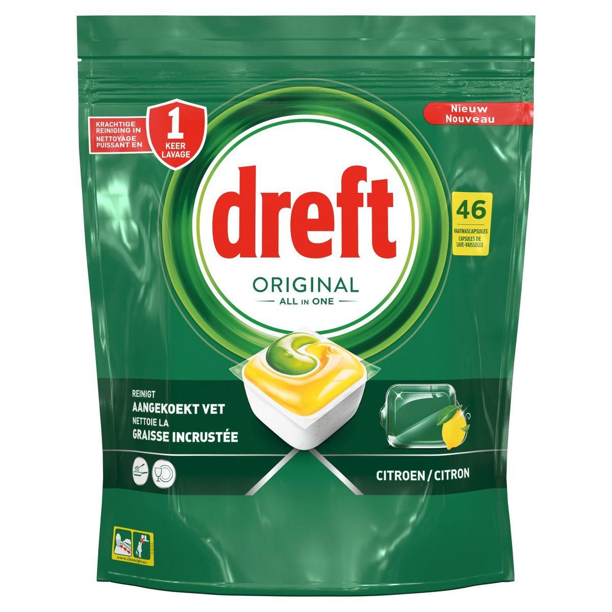 Dreft Original All In One Citron Capsules Lave-Vaisselle, 46Capsules
