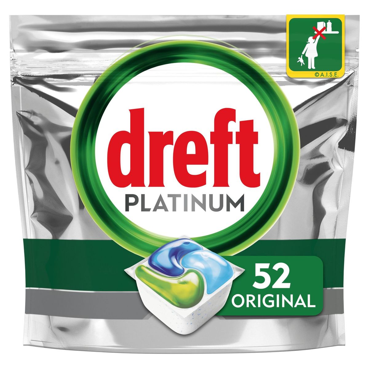 Dreft Platinum All In One Regular Capsules Lave-Vaisselle, 52 Capsules