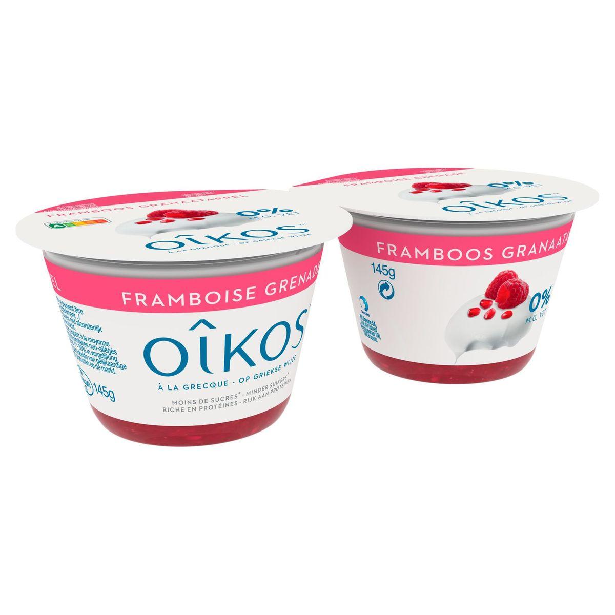 Oikos Yaourt à la Grecque Framboise Grenade 0% 2 x 145 g