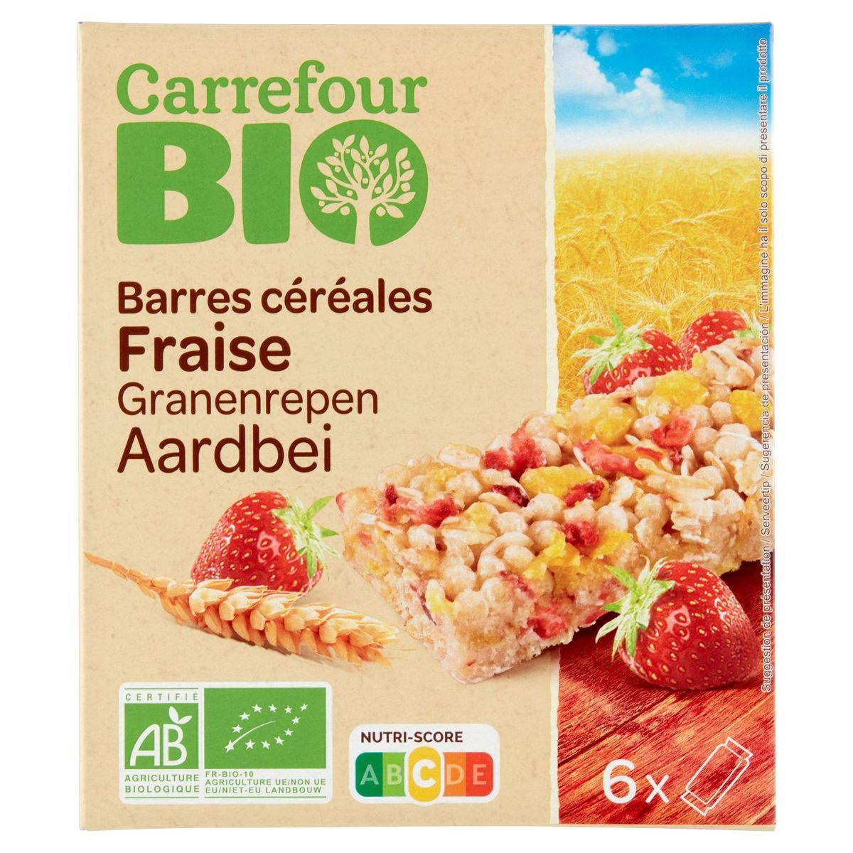 Carrefour Bio Barres Céréales Fraise 6 x 23 g