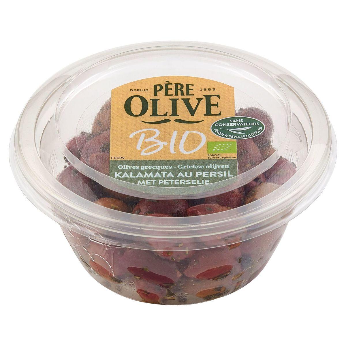 Père Olive Bio Olives Grecques Kalamata au Persil 140 g