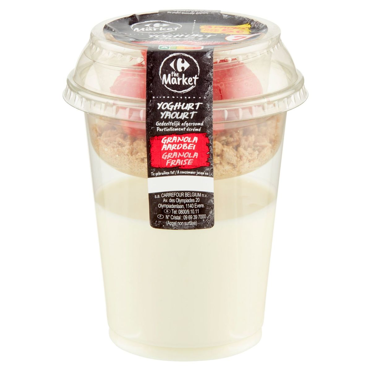 Carrefour The Market Yoghurt Afgeroomd Granola Aardbei 220 g