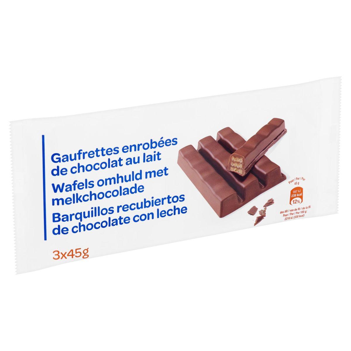 Carrefour Gaufrettes Enrobées de Chocolat au Lait 3 x 45 g