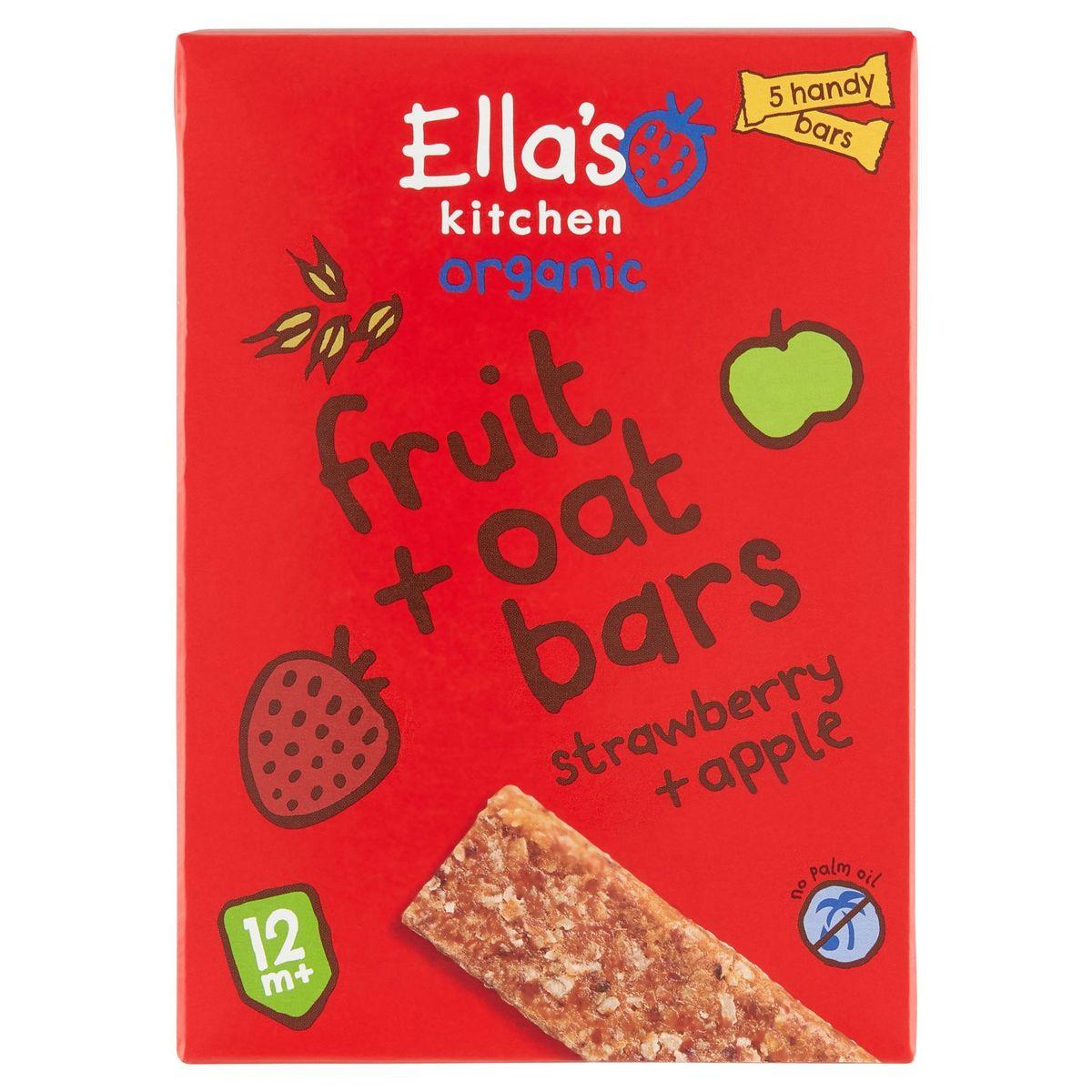 Ella's Kitchen Organic Fruit + Oat Bars Strawberry + Apple 12m+ 5x25g