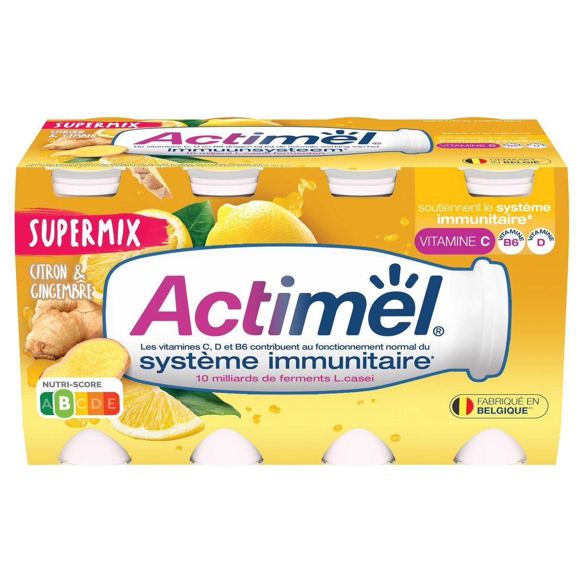 Actimel Supermix Yaourt à Boire Citron & Gingembre 8 x 100 g