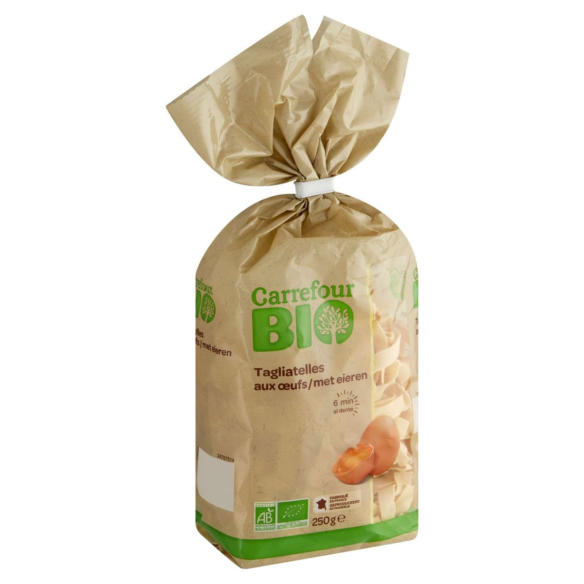 Carrefour Bio Tagliatelles met Eieren 250 g
