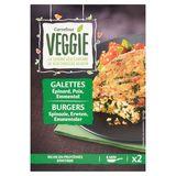 Carrefour Veggie Burgers Spinazie, Erwten, Emmentaler 2 x 100 g
