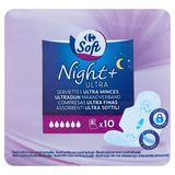 Carrefour Soft Night+ Ultra Serviettes Ultra Minces 10 Pièces