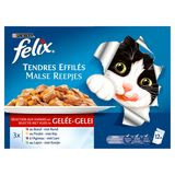 FELIX Nourriture Chat Tendres Effiles aux Viandes en Gelée 12 x 100 g
