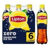 Lipton Iced Tea Thé Glacé Pétillant sans Sucre Original Zero 6 x 50 cl
