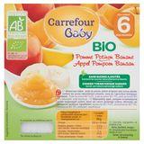 Carrefour Baby Bio Appel Pompoen Banaan vanaf 6 Maanden 4 x 100 g