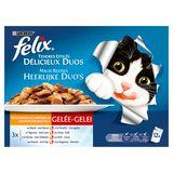 FELIX Alimentation Chat Duos de Viandes en Gelée 12 x 100 g