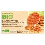 Carrefour Bio Gaufres au Miel Farines d'Épeautre & Blé 6 Gaufres 175 g