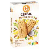 Céréal Fibres Biscuits Muesli Coco Avoine 4 x 4 Biscuits 200 g