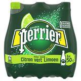 PERRIER Eau Minérale Naturelle Pétillante Citron Vert 6 x 0.50 L
