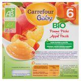 Carrefour Baby Bio Appel Perzik vanaf 6 Maanden 4 x 100 g
