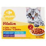 Carrefour Dunne Plakjes met Vis met Gelei Adult 12 x 100 g