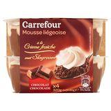 Carrefour Mousse Liégeoise met Slagroom Chocolade 2 x (2 x 80 g)