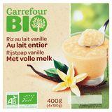 Carrefour Bio Rijstpap Vanille met Volle Melk 4 x 100 g
