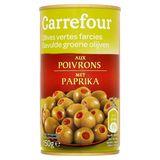Carrefour Gevulde Groene Olijven met Paprika 150 g