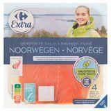 Carrefour Extra Gerookte Zalm Noorwegen 4 Sneetjes KKC 140 g
