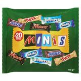 Minis Snickers, Twix, Mars, Bounty, Milky Way x 20 Mixed 400 g