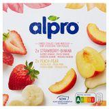 Alpro Soya Aardbei-Banaan Perzik-Peer 4 x 125 g