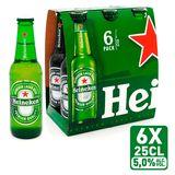Heineken Premium Lager Beer Flessen 6 x 250 ml
